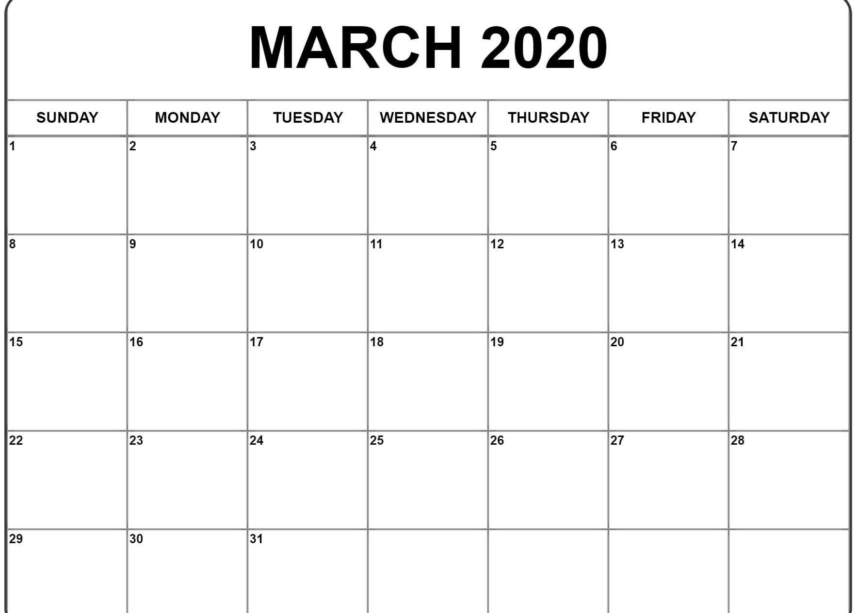 Printable Calendar March 2020 Template