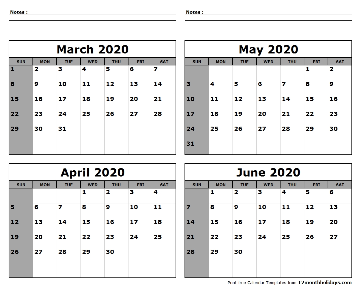 March-April-May-June-2020-Calendar-To-Print – All 12 Month