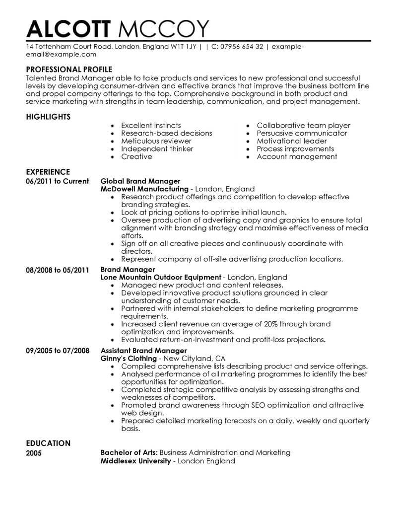 Marketing Job Resume Sample