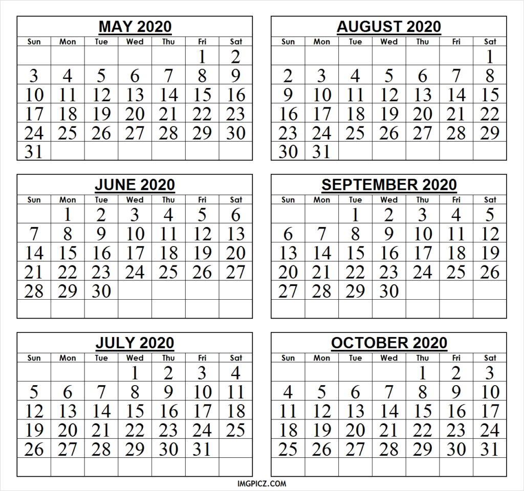 6 Month Calendar May To October 2020