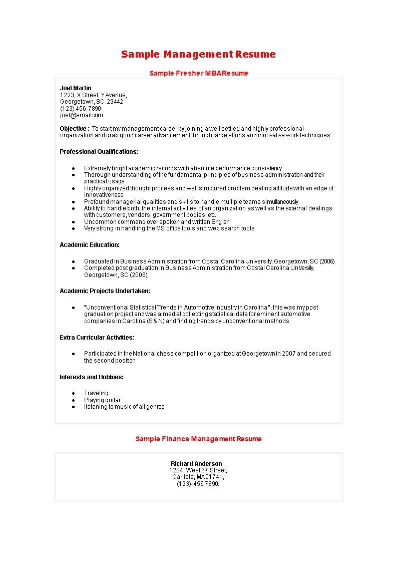 Mba Fresher Resume Example | Templates At