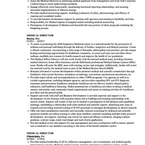 Medical Director Resume Samples | Velvet Jobs