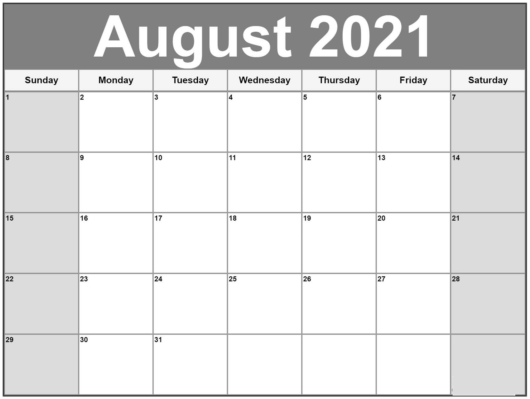 2021 Monthly Calendar Template Big Font Full Page