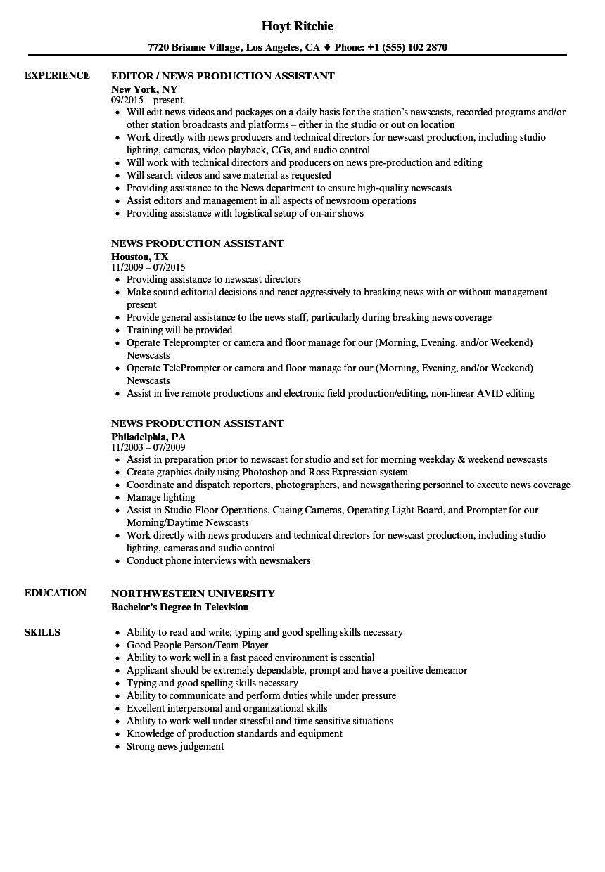 Example Of Production Assistant Resume