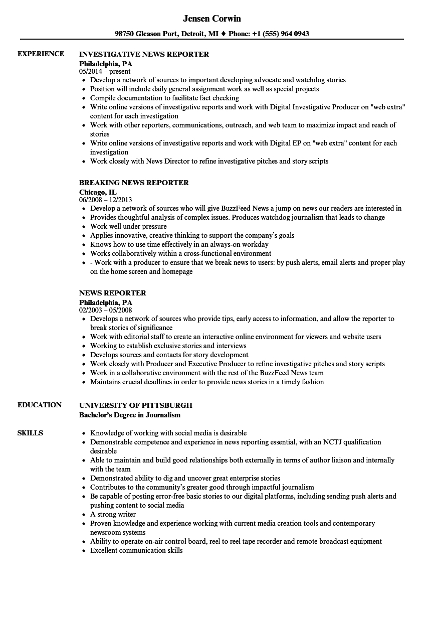 News Reporter Resume Example