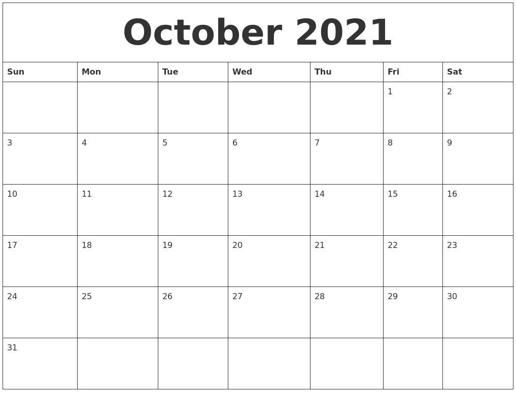 Fillable Calendar 2021