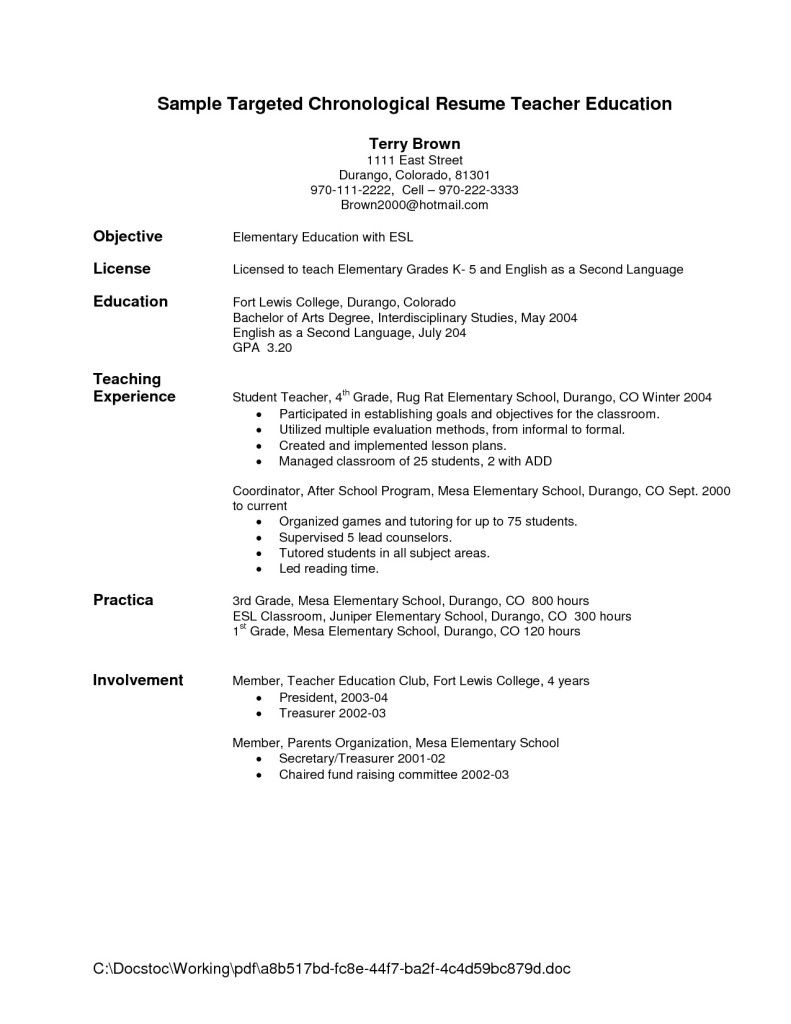 Resume Objective Sample For Teacher