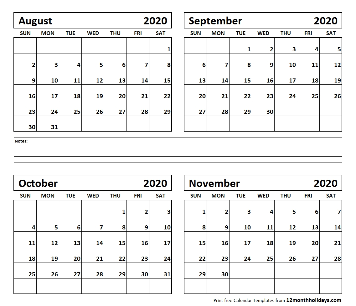 Four Month Calendar August To November 2020