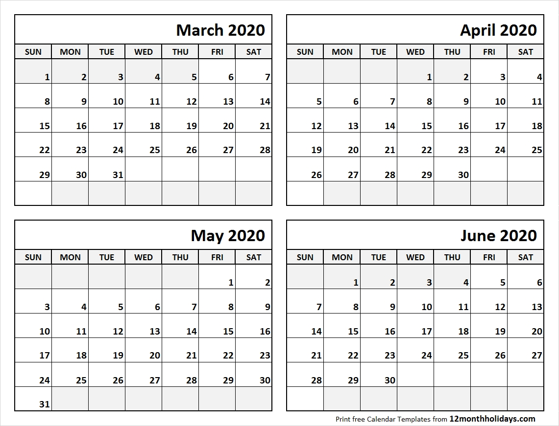 Blank March To June 2020 Calendar