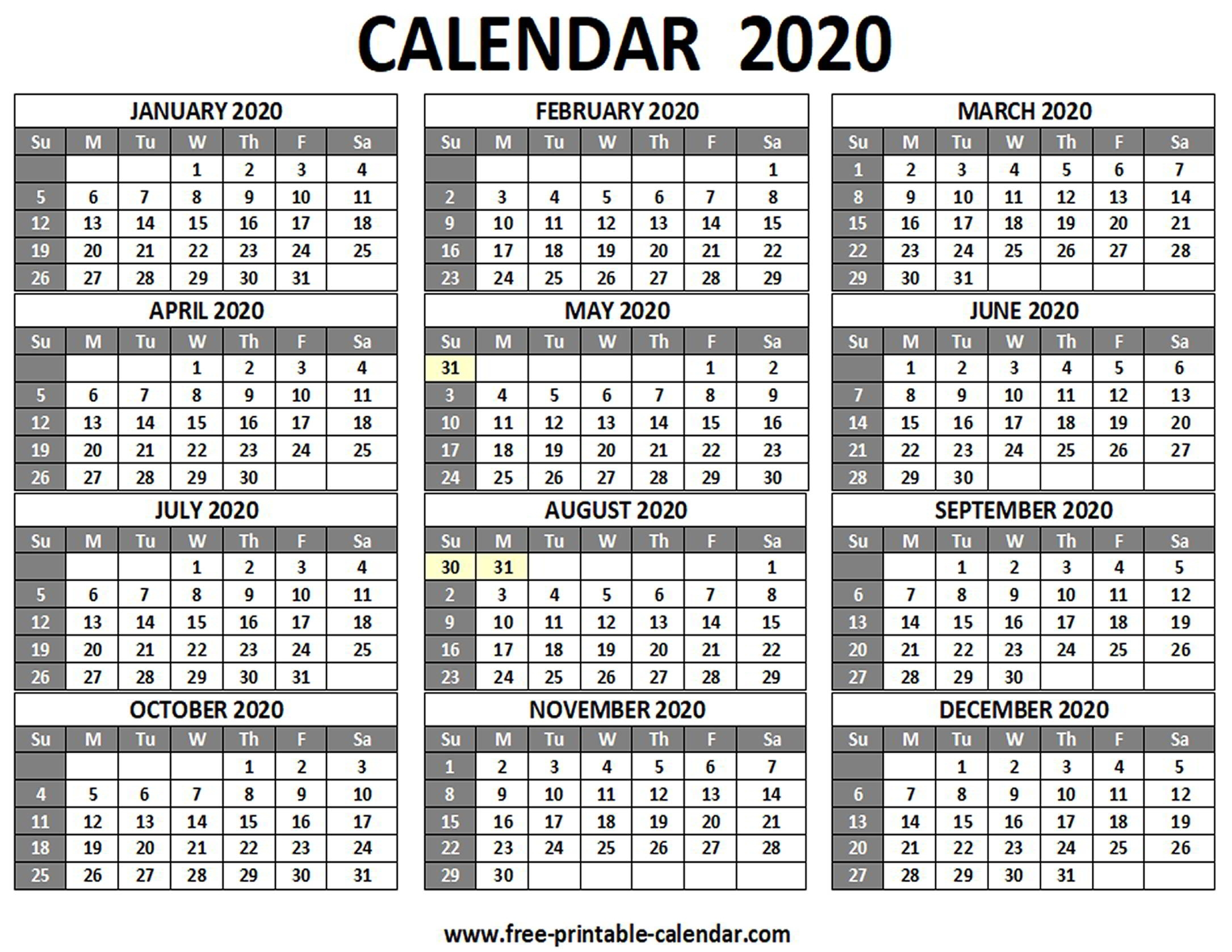 Printable 2020 Yearly Calendar 12 Months