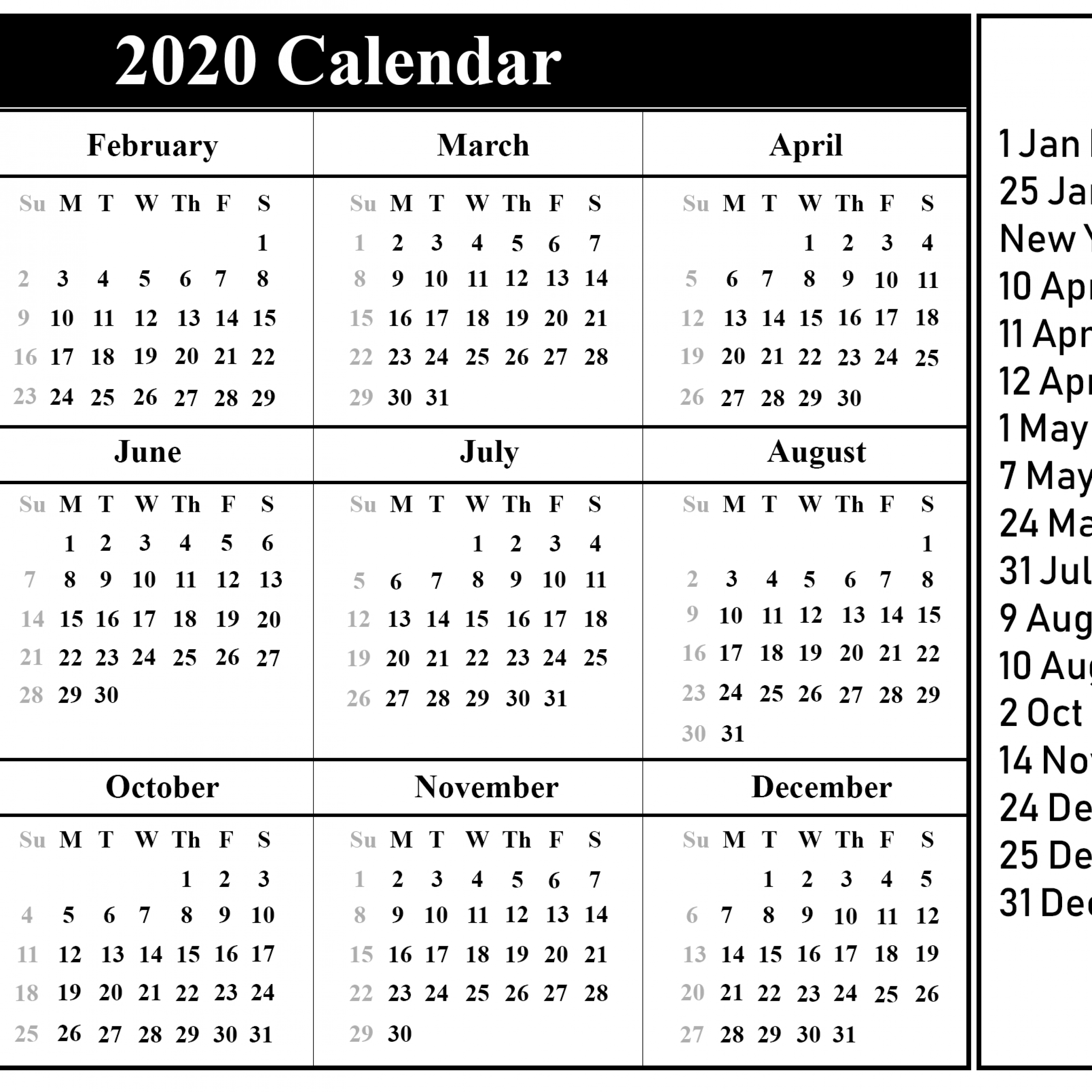 Calendar 2020 Printable With Holidays Full Months