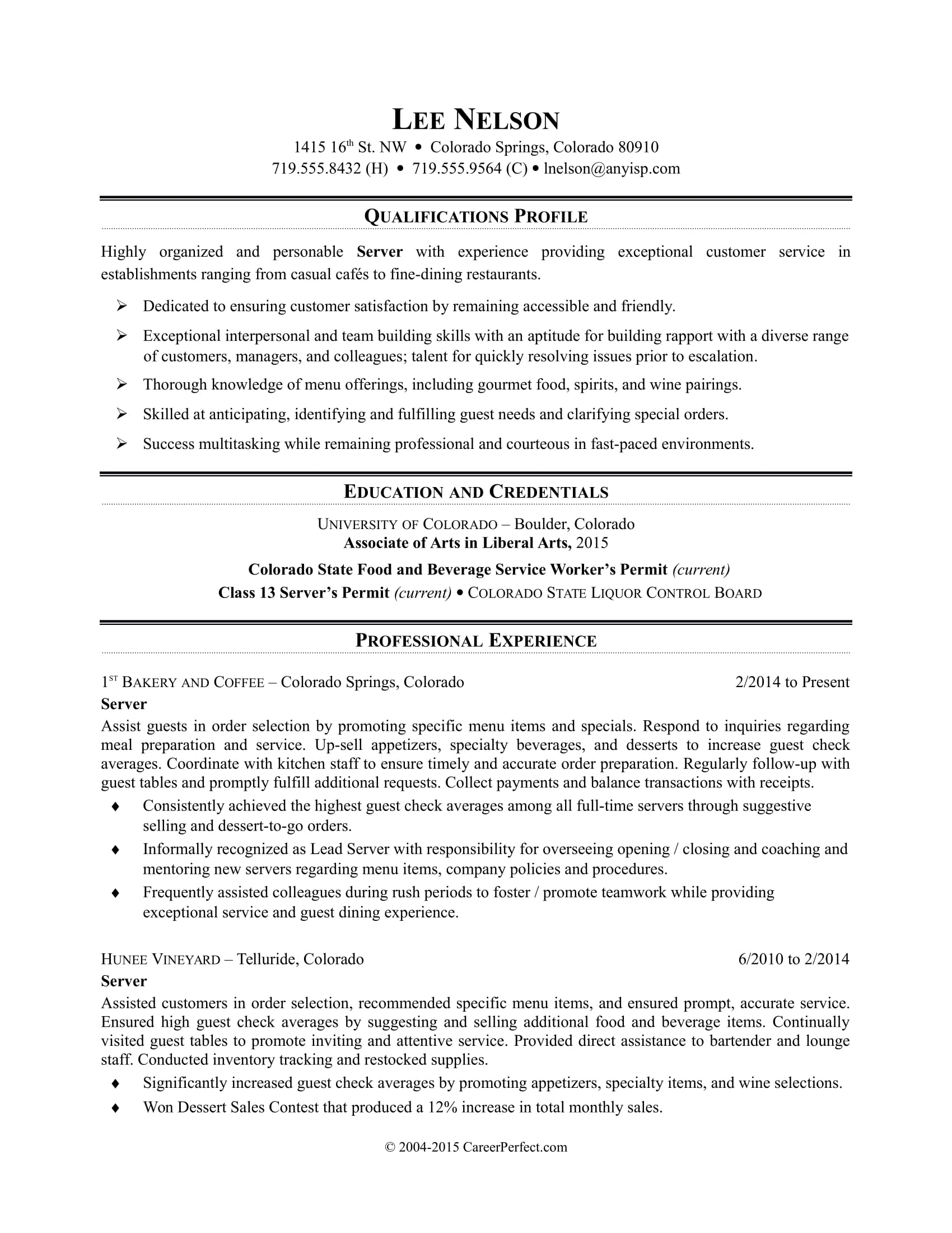 Sample Resume For A Restaurant Job