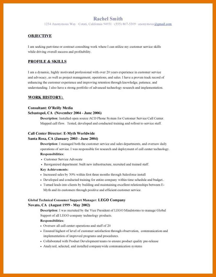 Resume ~ Cv Objective Examples Resume For All Jobs Of An On