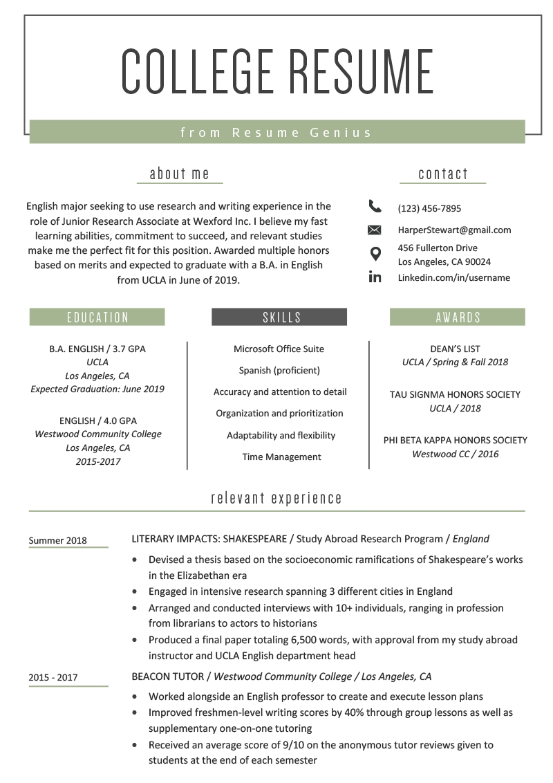 Resume Outline For A College Student