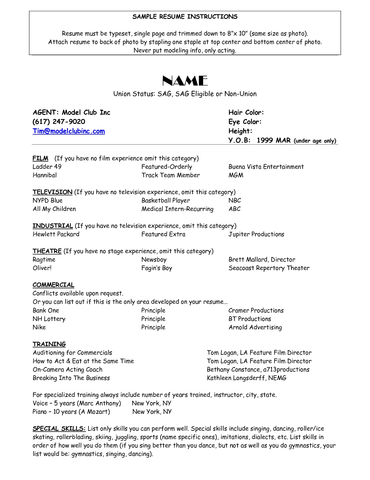 Resume For Child Actor | Scope Of Work Template | Acting