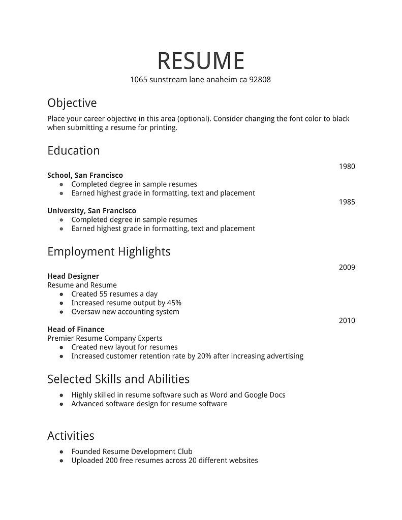 Examples Of A Basic Resume Template