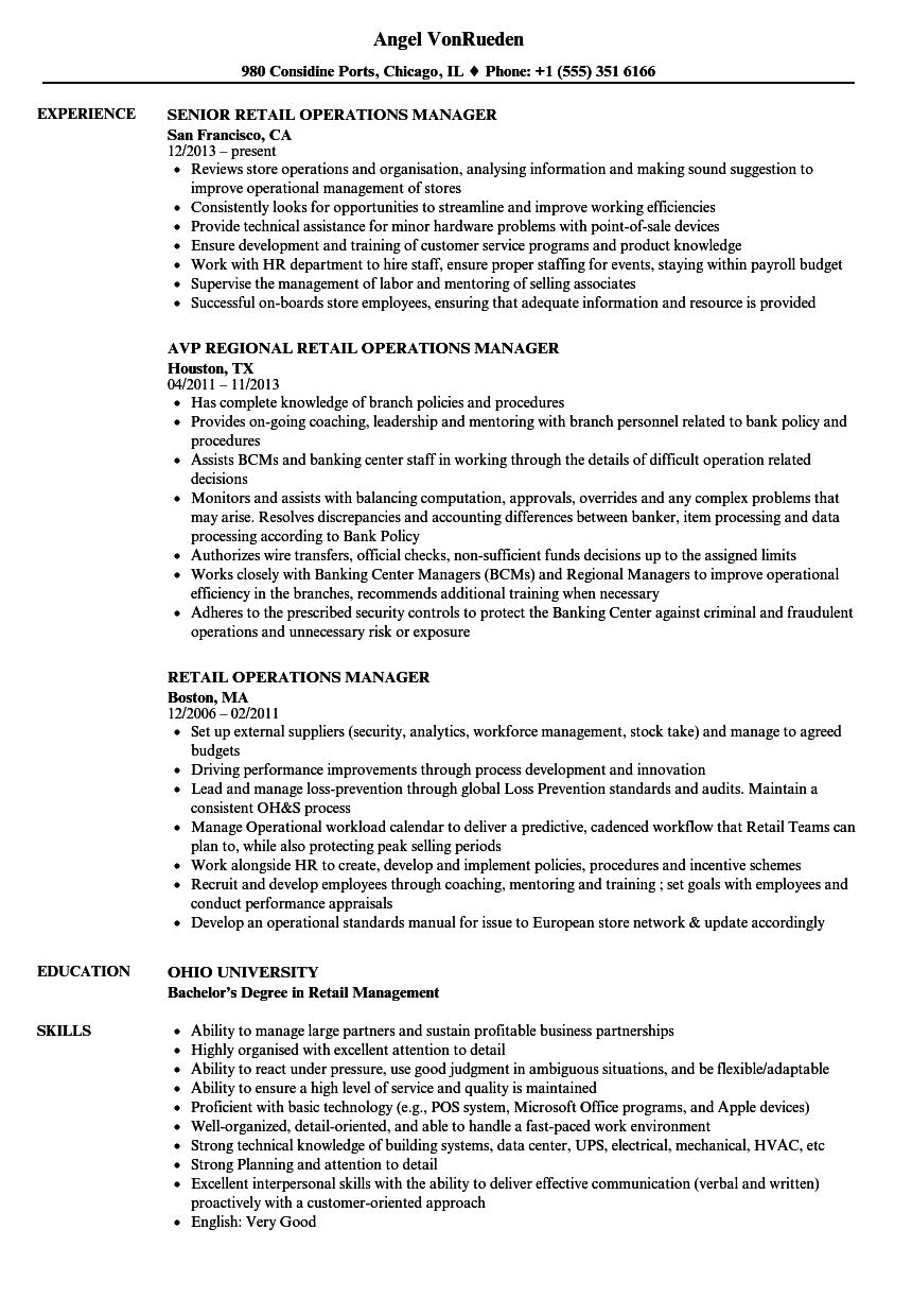 Retail Operation Manager Resume