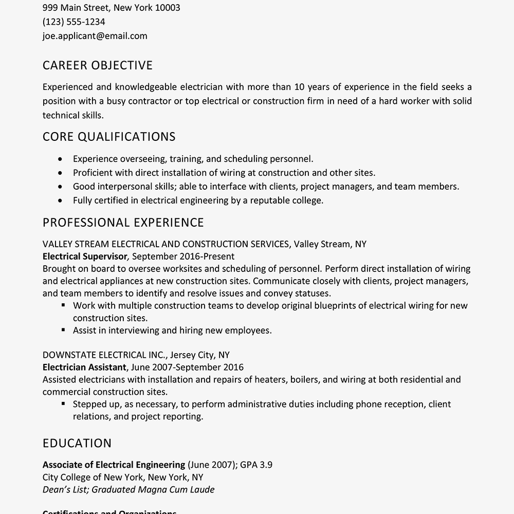 Electrician Resume Skills