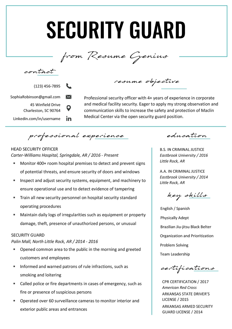 Security Guard Resume Example