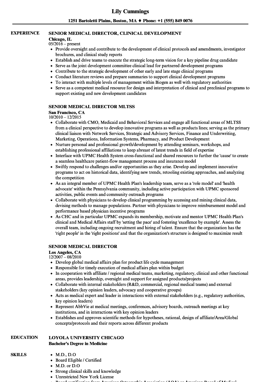 Medical Director Resume Sample