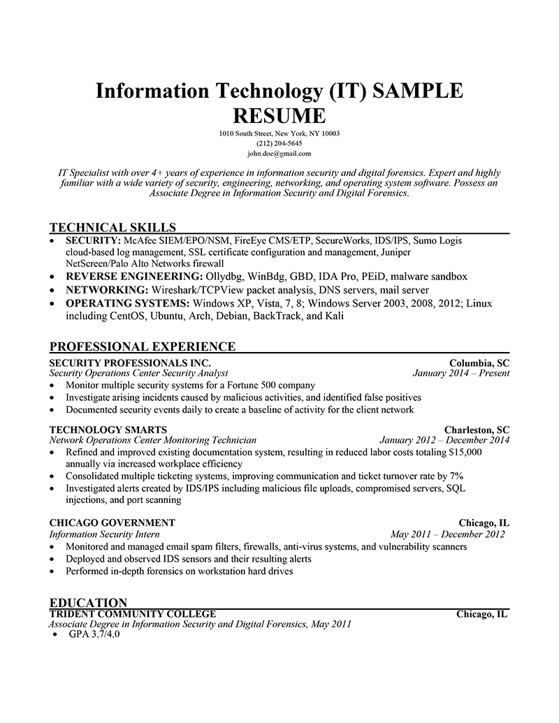 Sample Job Resume Qualifications