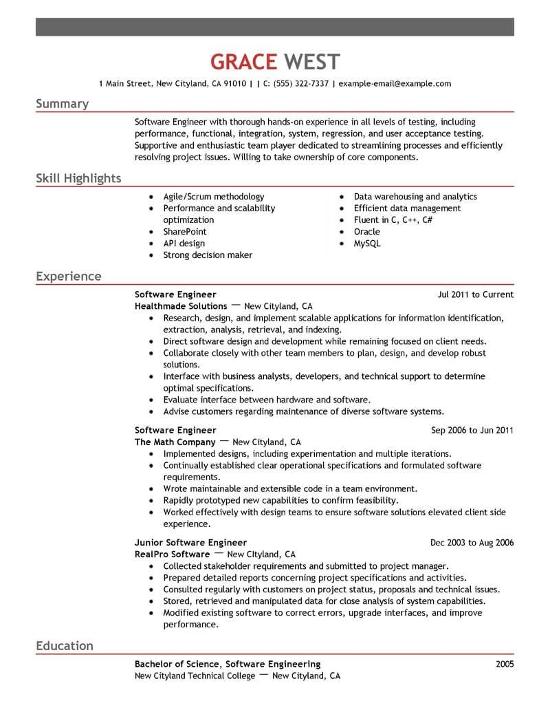 Software Engineer Resume Template For Word