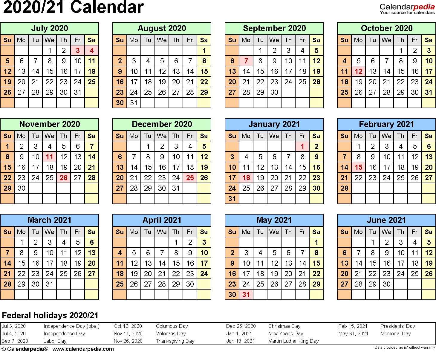 Split Year Calendars 2020/2021 (July To June) – Excel Templates