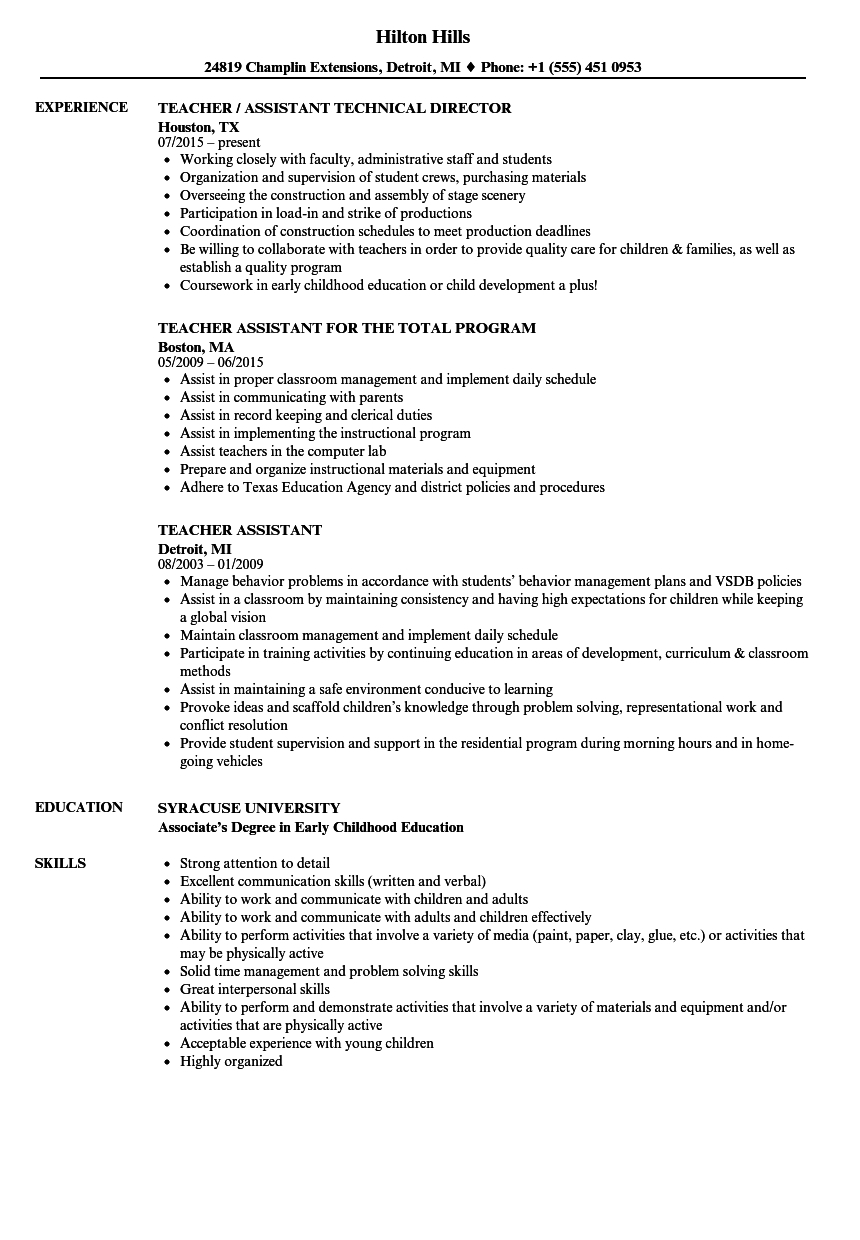 Teacher Assistant Resume Samples | Velvet Jobs