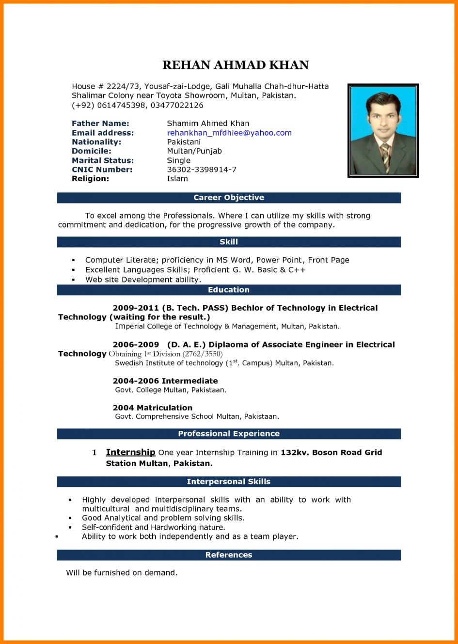 Curriculum Vitae Template Word Document