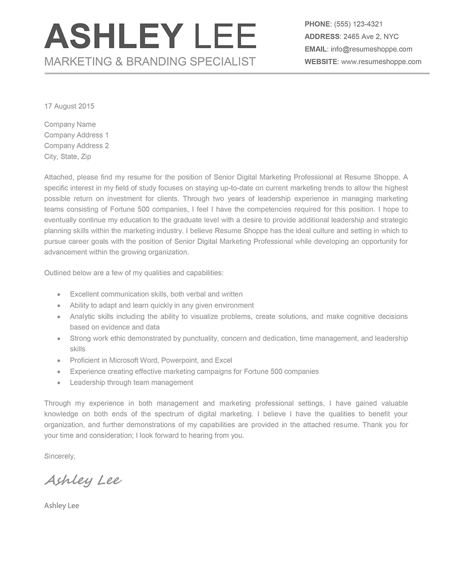 Resume Cover Letter Template Mac