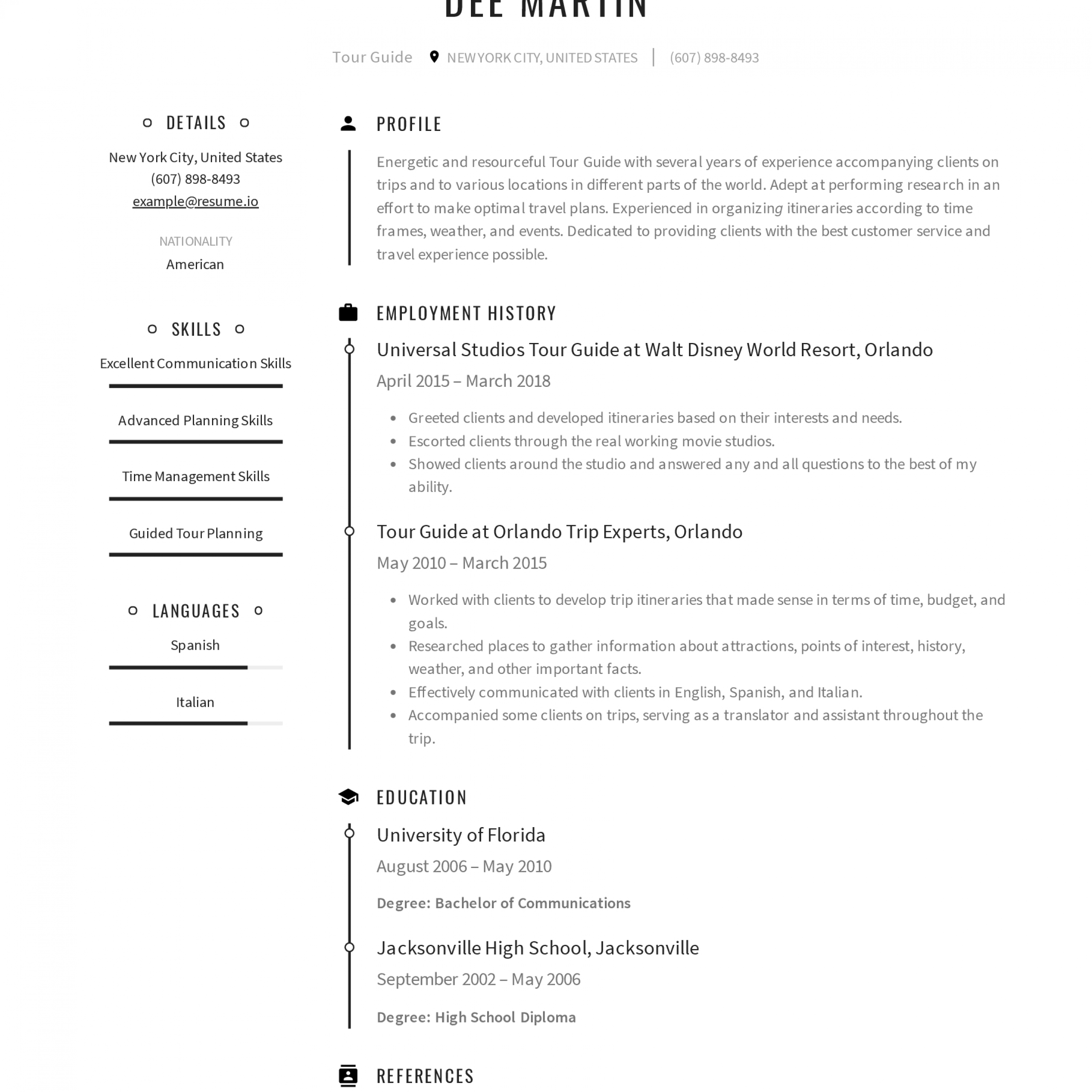 Tour Guides Resume Sample