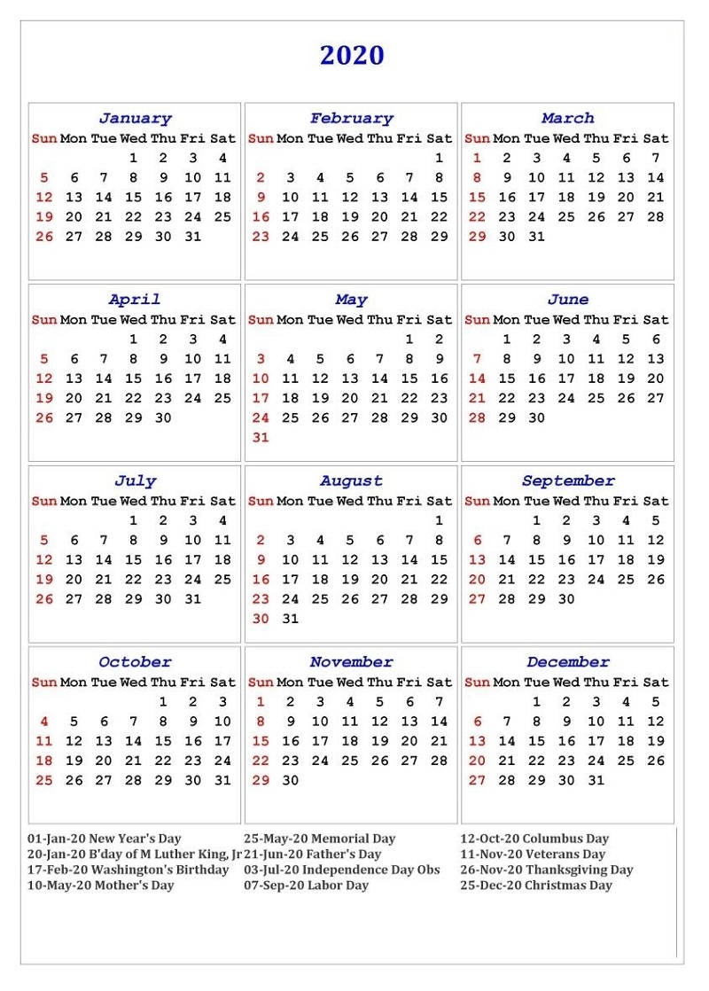 Printable 2020 Calendar With Holidays 12 Months Universal