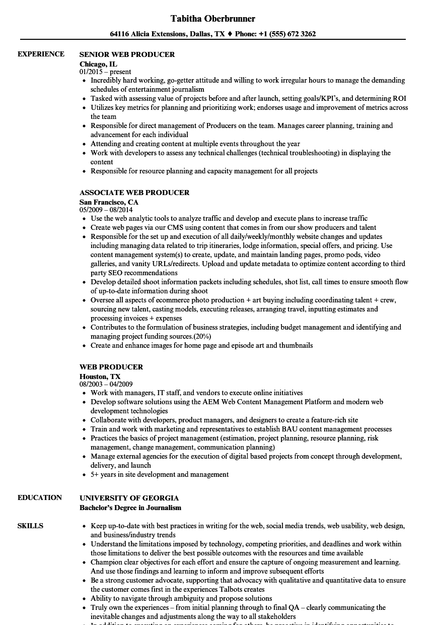 Web Producer Resume