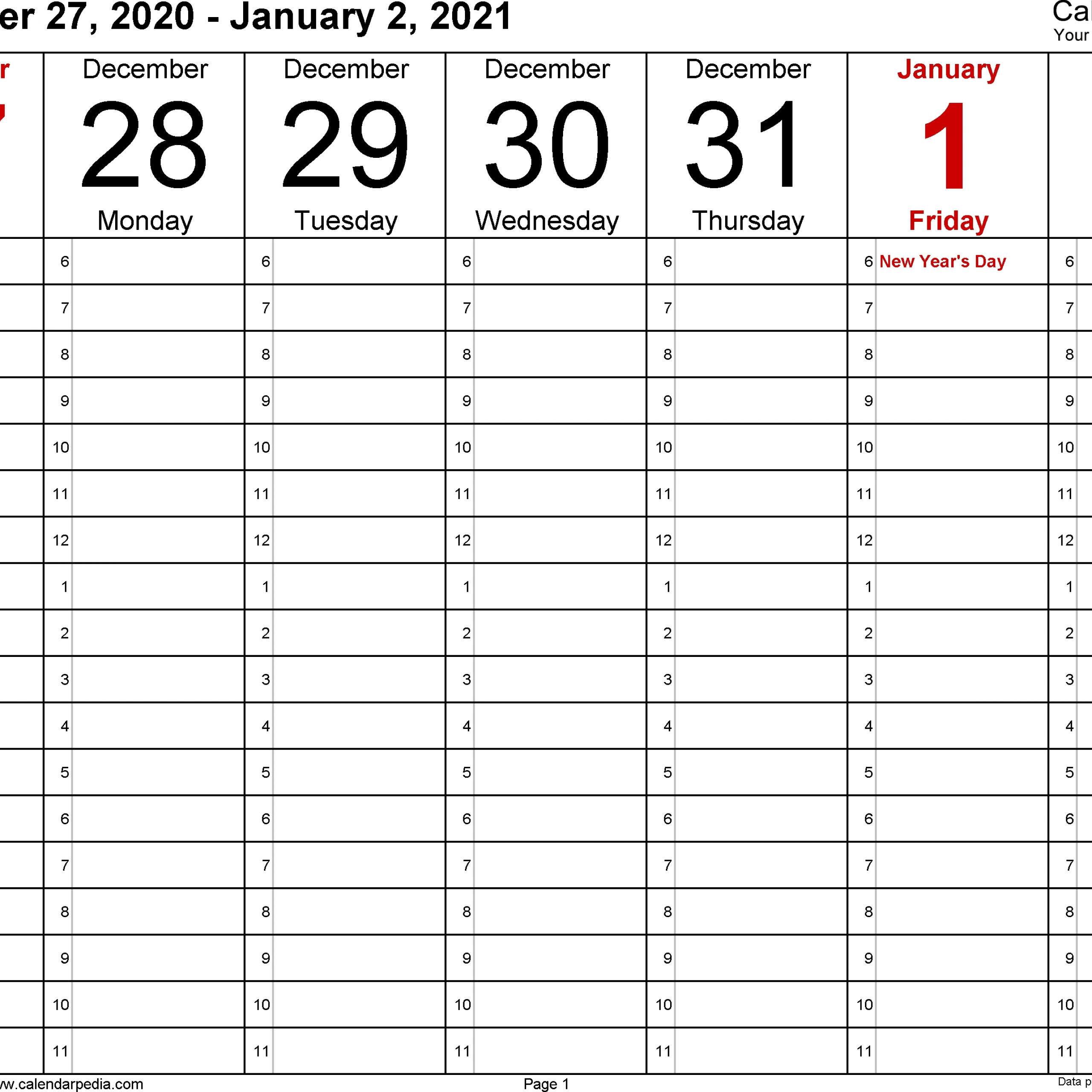 Weekly Calendars 2021 For Word – 12 Free Printable Templates