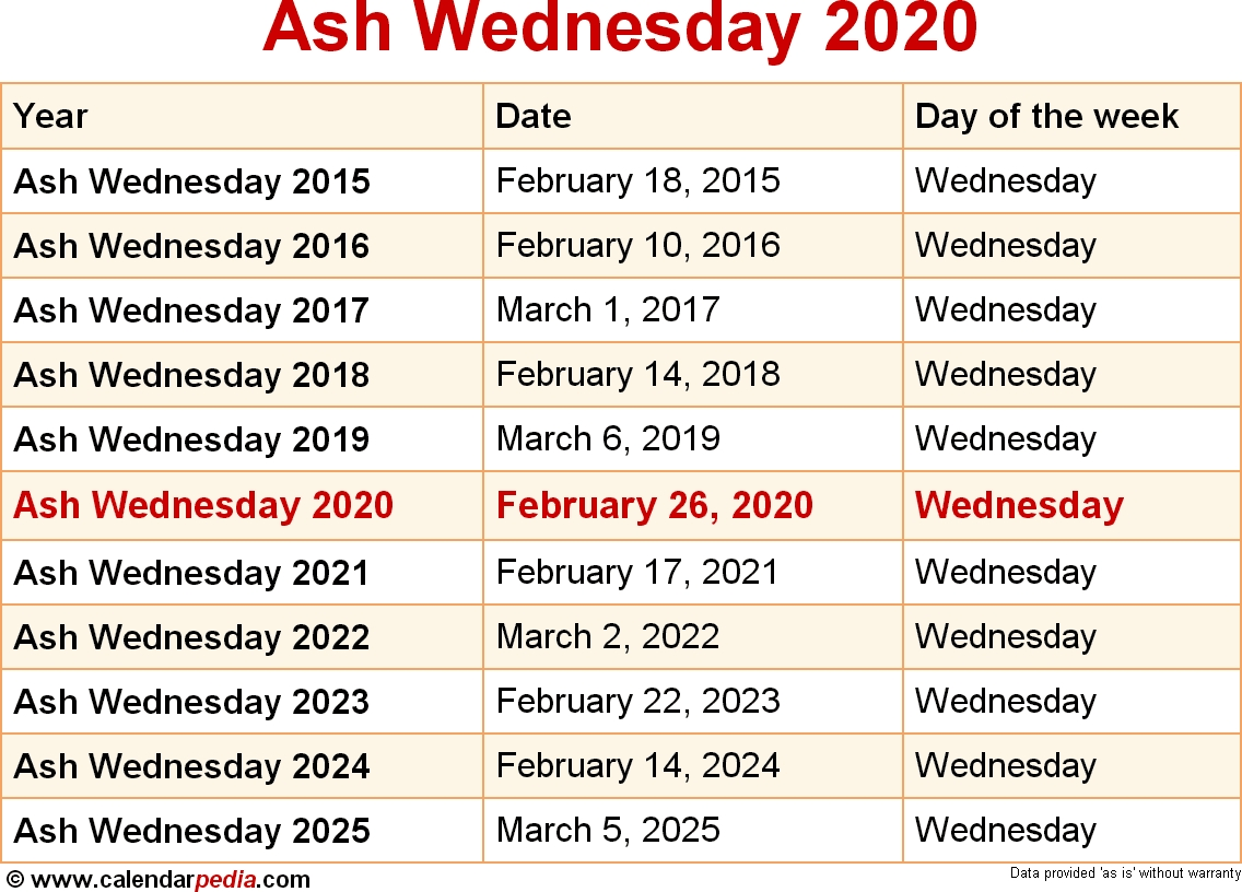 When Is Ash Wednesday 2020 & 2021? Dates Of Ash Wednesday