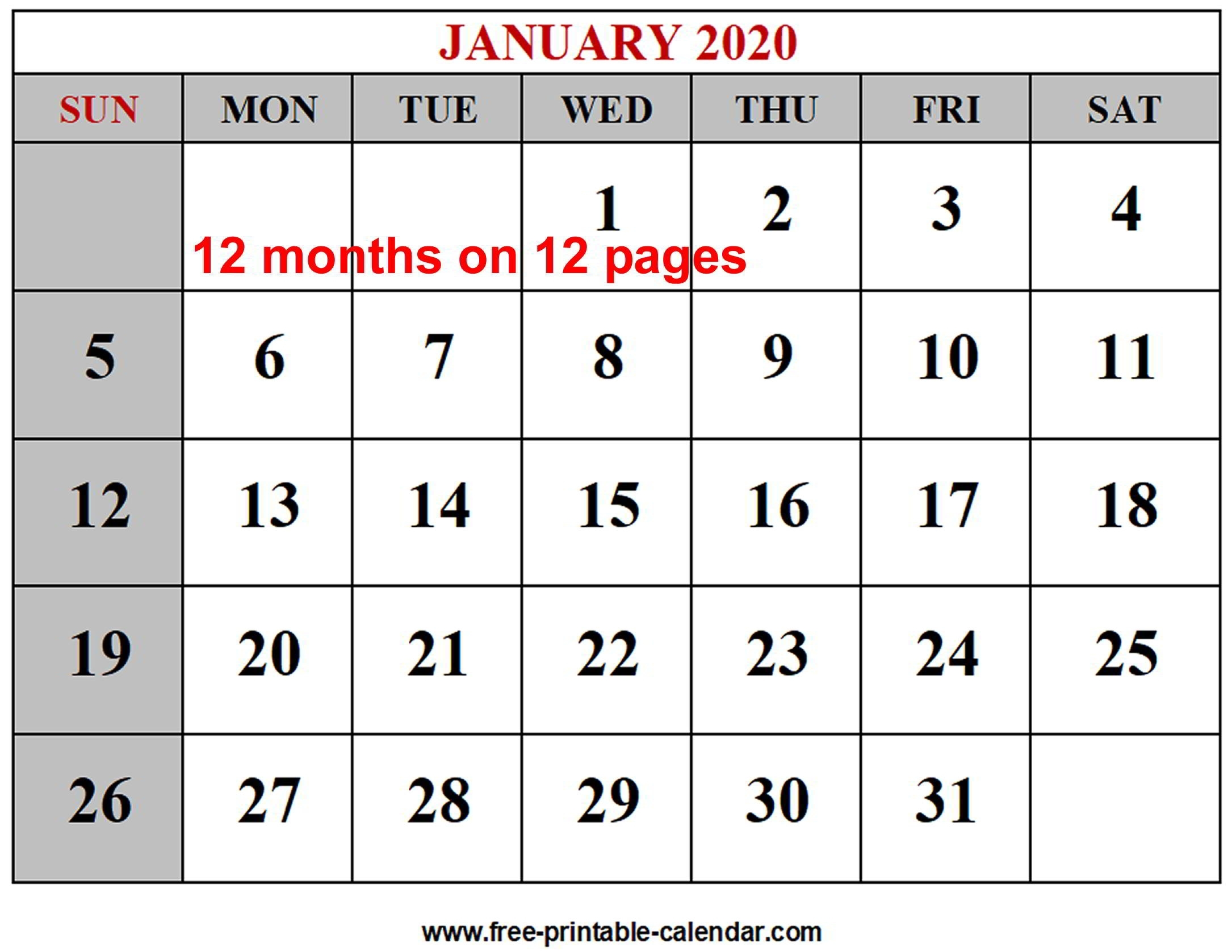 Free Monthly Calendar 2020 All Pages