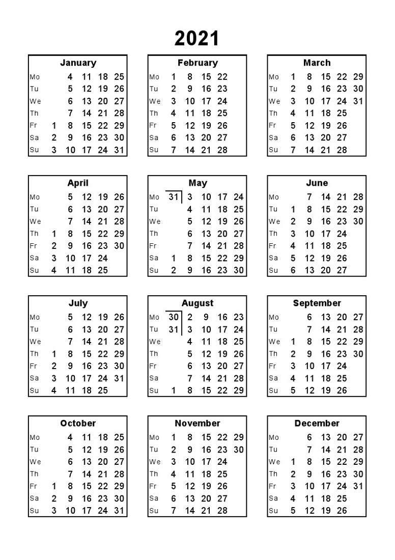 Year 2021 Calendar Printable Full For Agenda