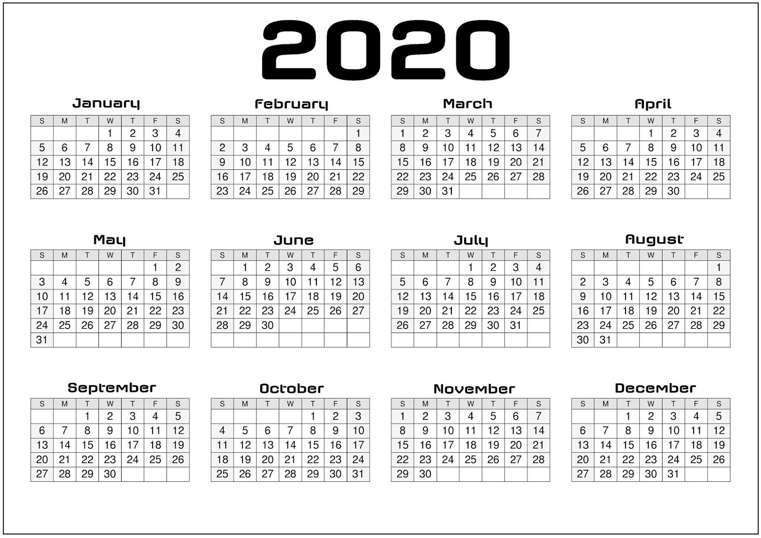 Printable Yearly Calendar 2020 For Agenda