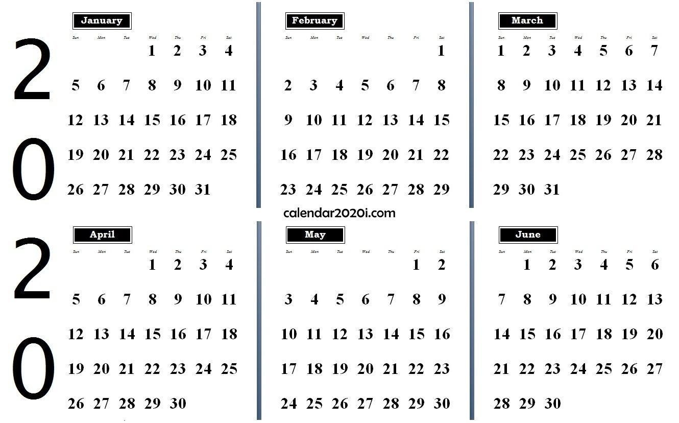 6 Month February To July 2020 Calendar Template