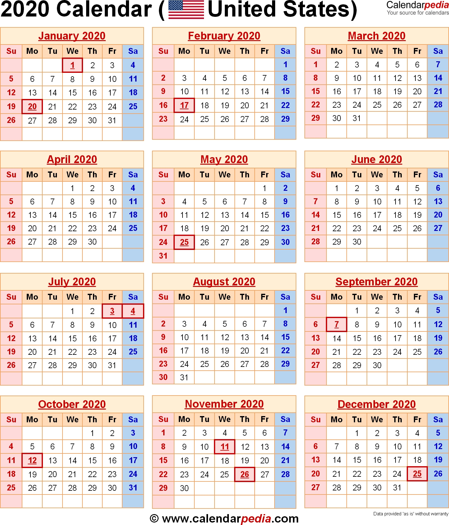 Downloadable Federal Calendar 2020