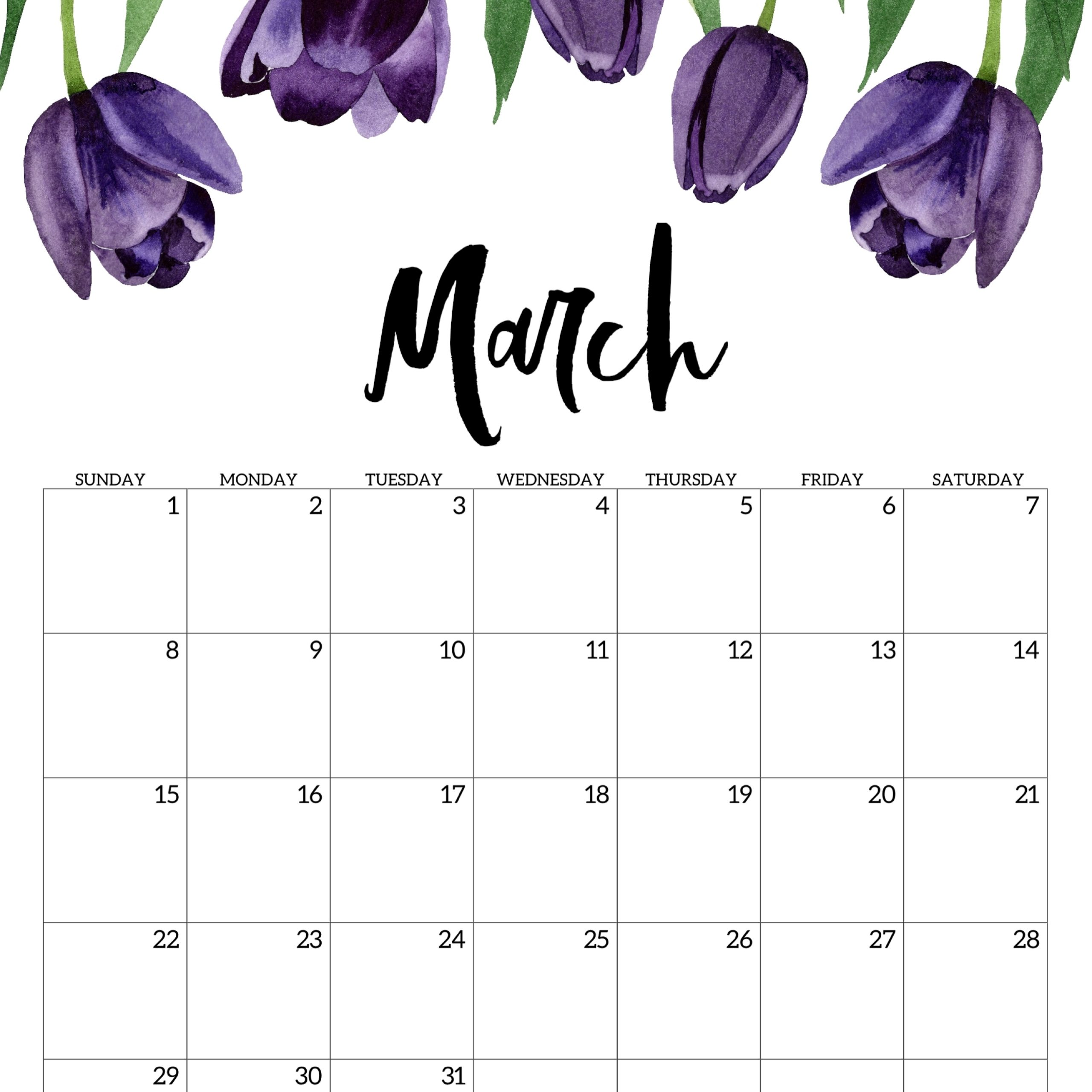 Free Printable March 2020 Calendar Cute