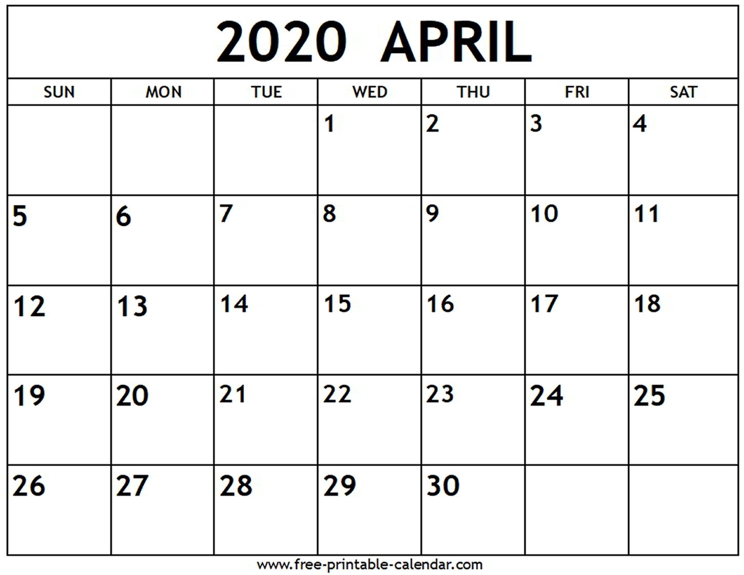Free February March April 2020 Calendar