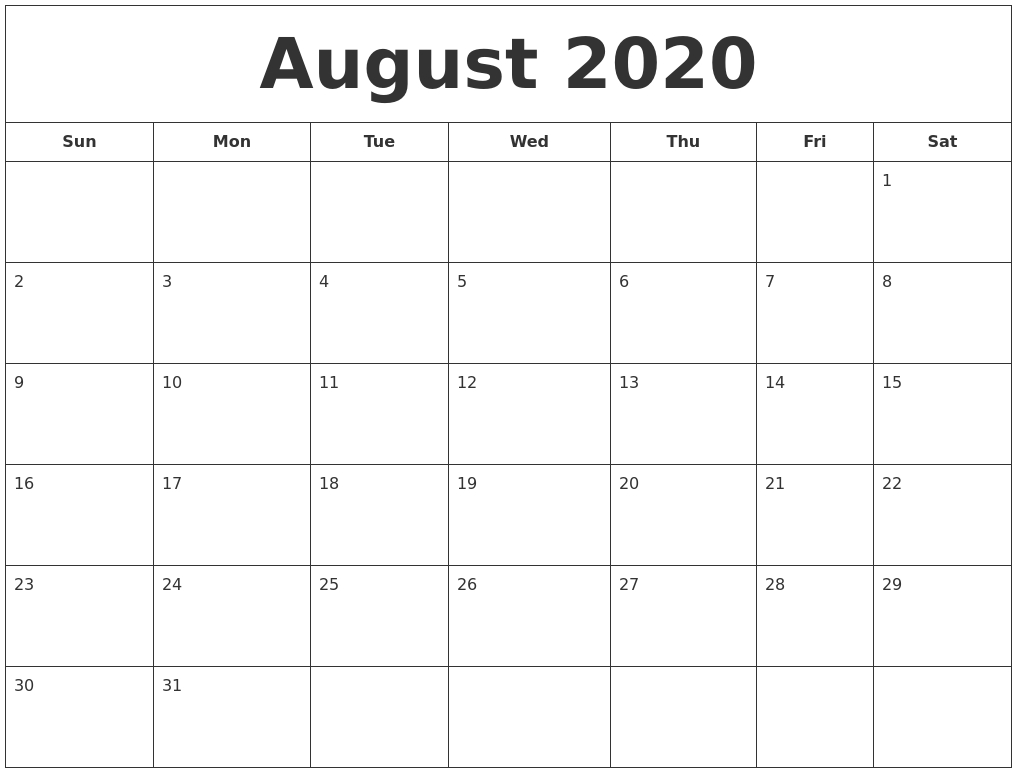 March To August 2020 Calendar Template