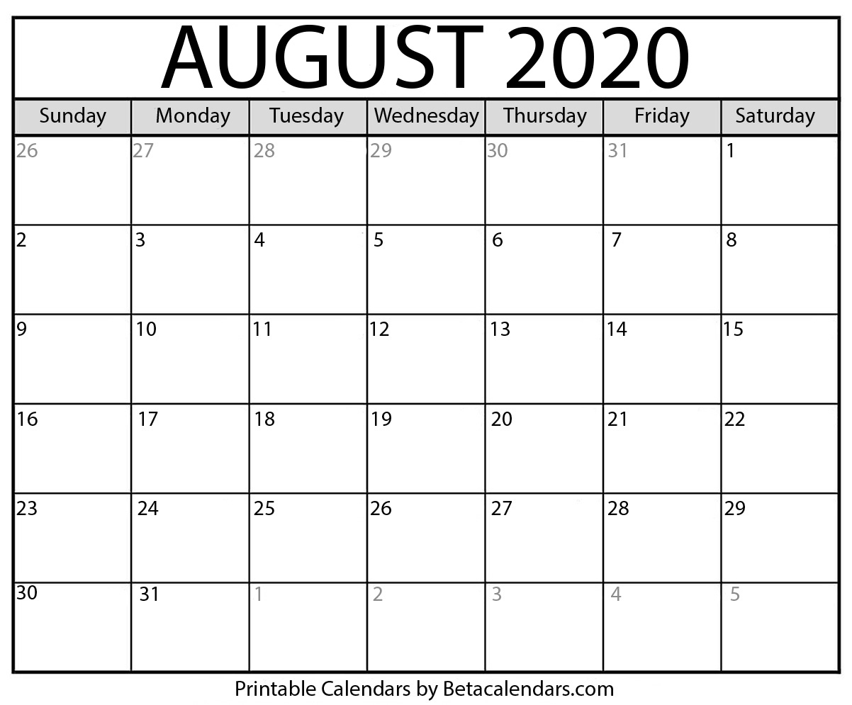 March To August 2020 Printable Calendar