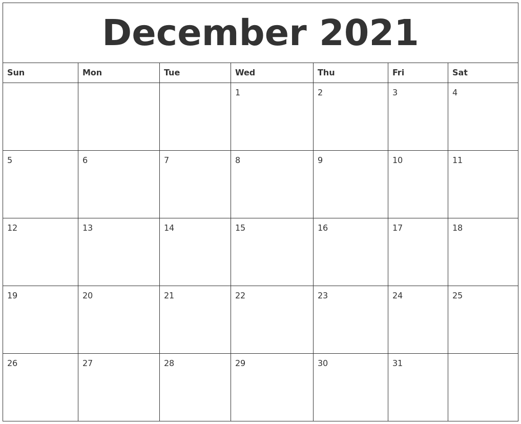 2021 December Calendar With Notes