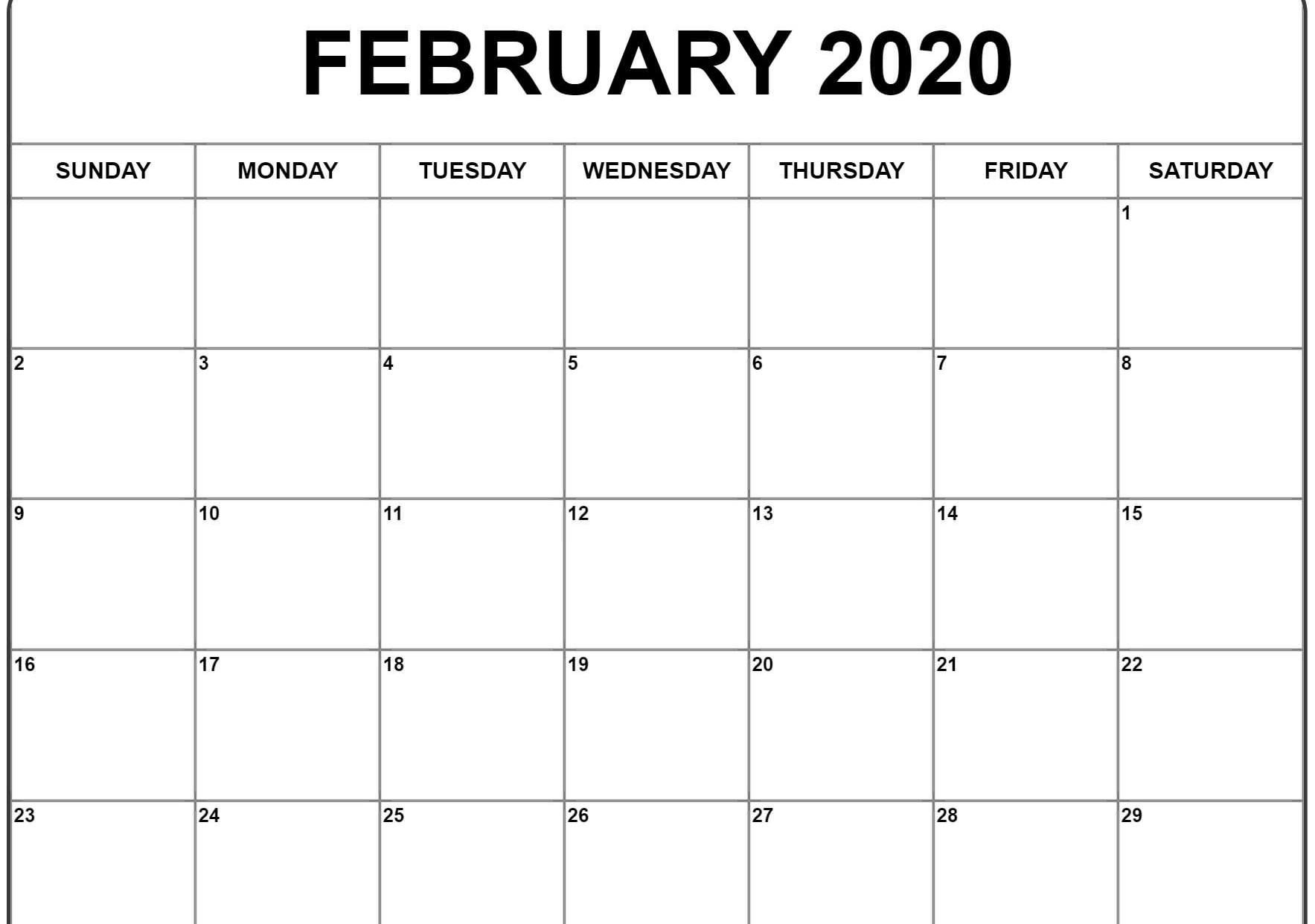 2020 February And March Calendar Word