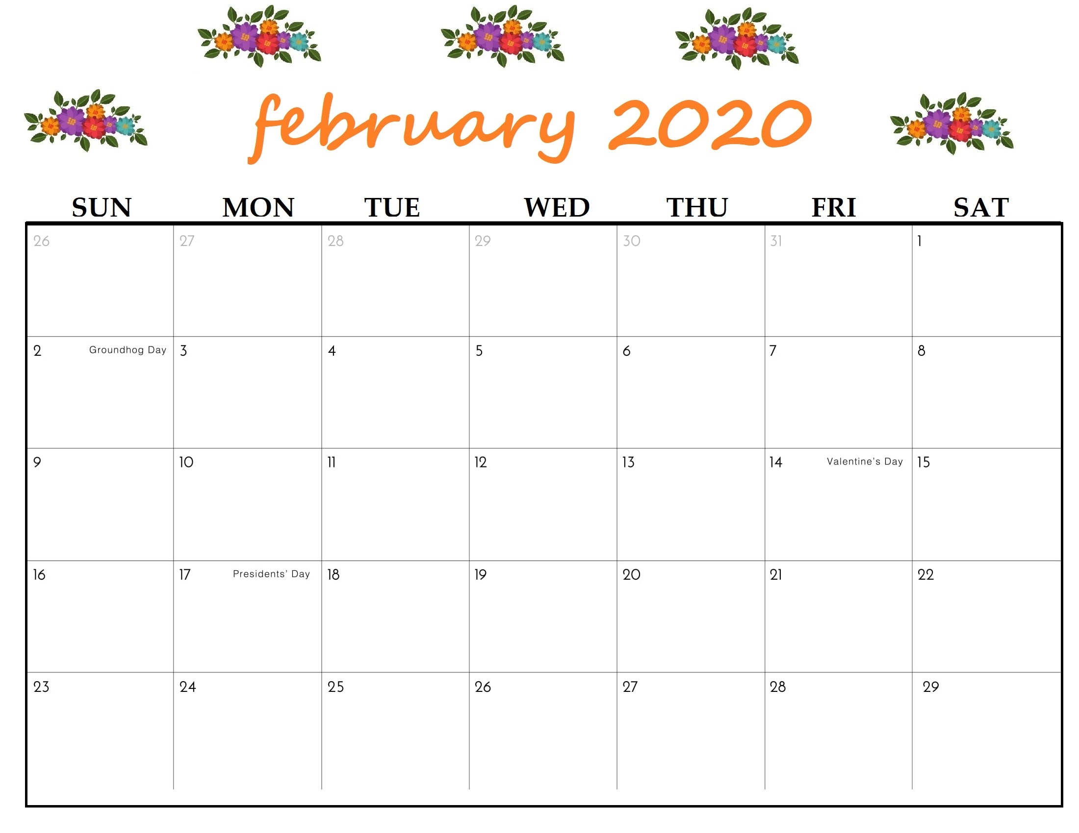 February 2020 Printable Calendar Colorful
