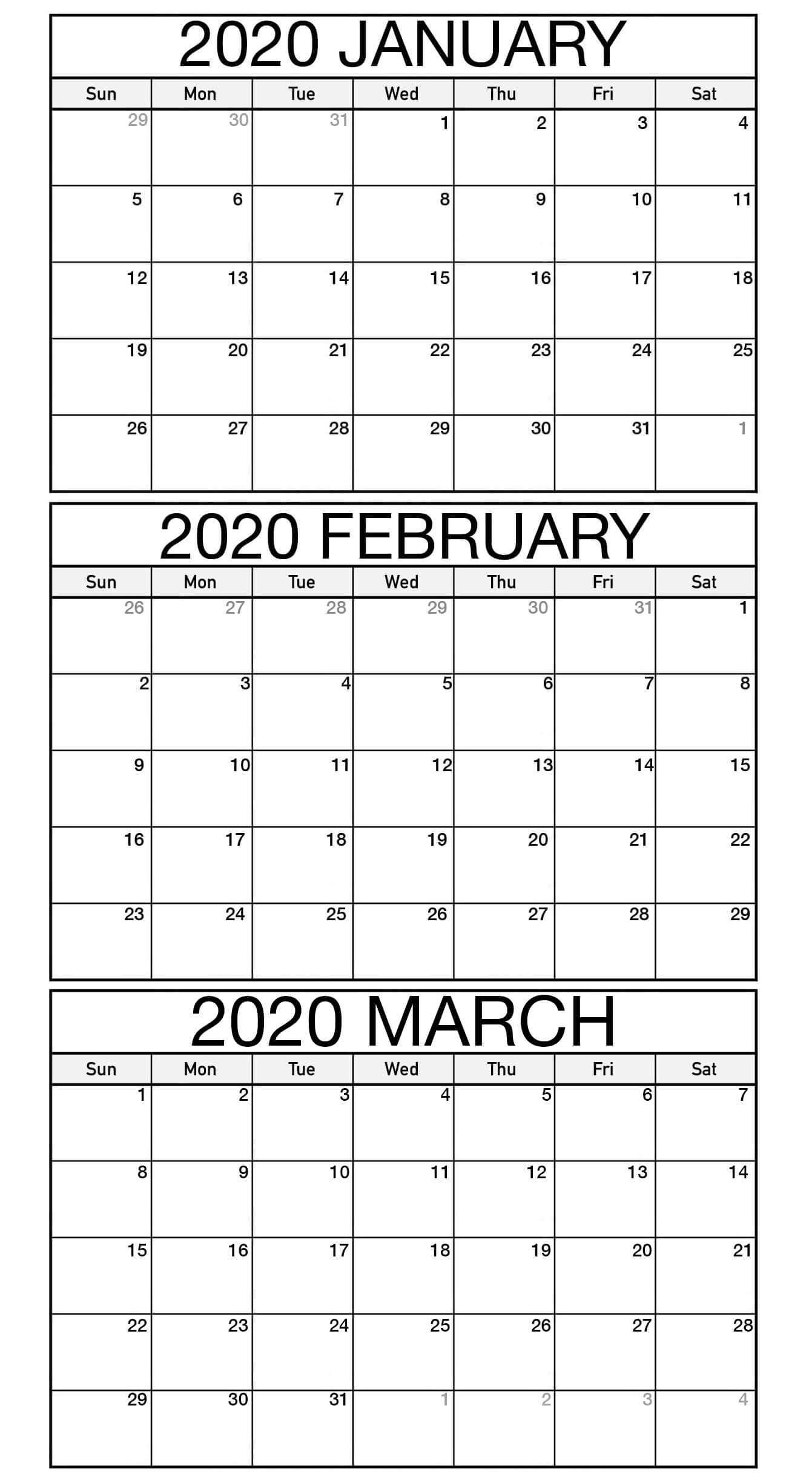 Free January March Calendar 2020