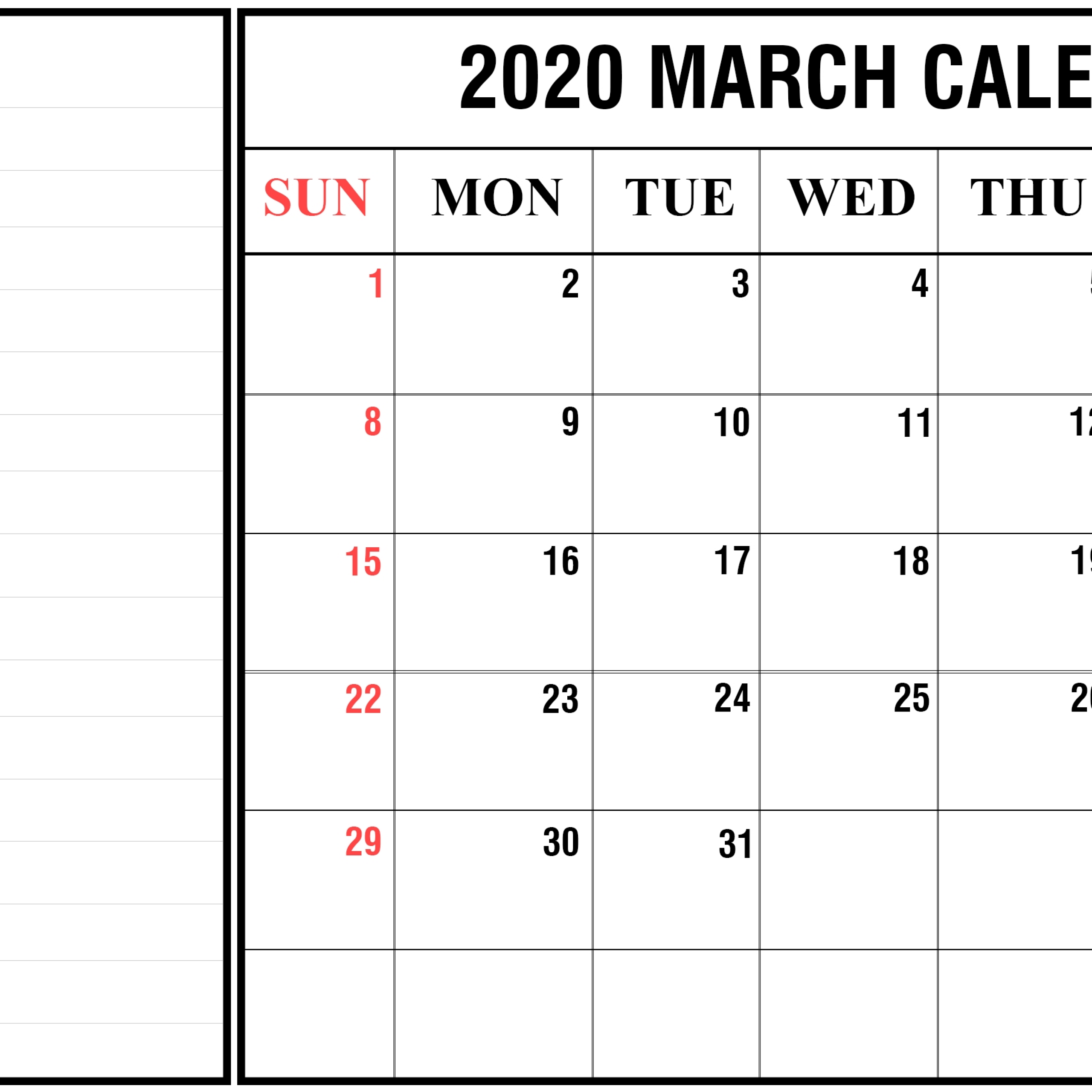 Free March Calendar 2020 Printable Template In Pdf, Word, Excel