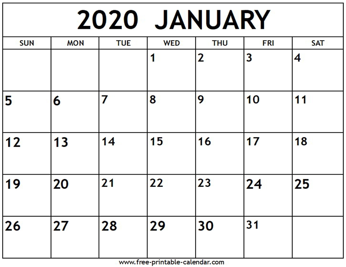 Free Monthly Calendar January 2020